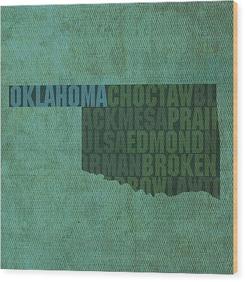 Oklahoma Word Art State Map On Canvas Wood Print by Design Turnpike