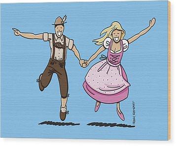 Oktoberfest Couple Dancing Together Wood Print by Frank Ramspott