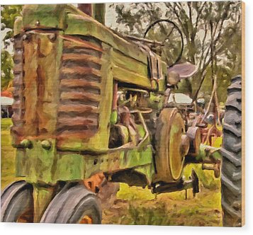 Ol' John Deere Wood Print by Michael Pickett