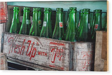 Old 7 Up Bottles Wood Print by Thomas Woolworth