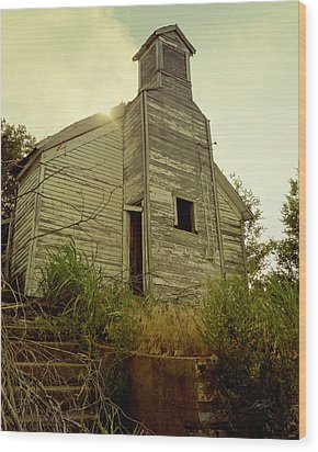 Old Abandoned Country  School Wood Print by Ann Powell