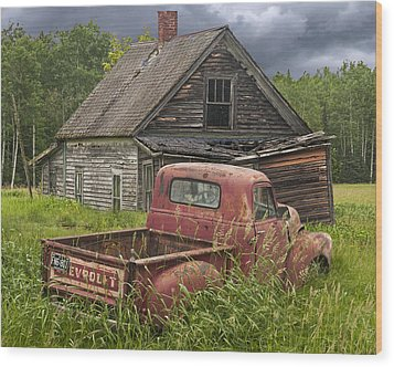 Old Abandoned Homestead And Truck Wood Print by Randall Nyhof