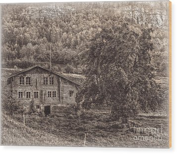 Old And Abandoned - Sepia Wood Print by Hanny Heim