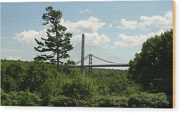 Old And New Bridges Over Penobscot Wood Print by David Fiske