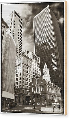 Old And New In Boston Wood Print by John Rizzuto