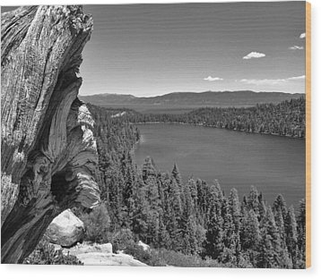 Old And New Of Cascade Lake B And W Wood Print