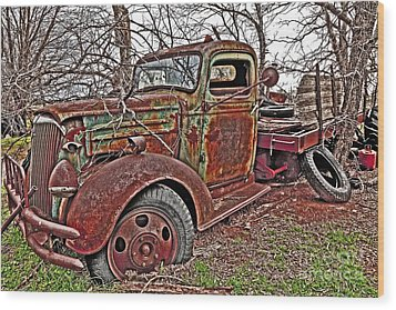 Old And Tired Wood Print by Pattie Calfy