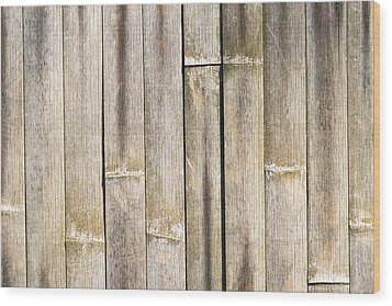 Old Bamboo Fence Wood Print by Alexander Senin