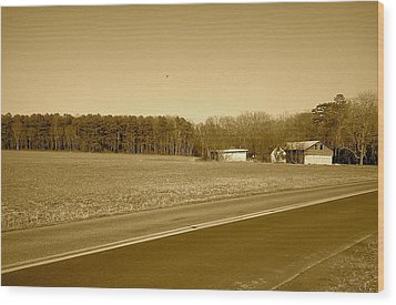 Wood Print featuring the photograph Old Barn And Farm Field In Sepia by Amazing Photographs AKA Christian Wilson