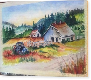Old Barn And Truck Wood Print by Richard Benson