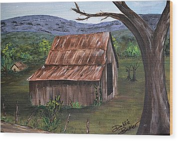 Wood Print featuring the painting Old Barn by Debbie Baker