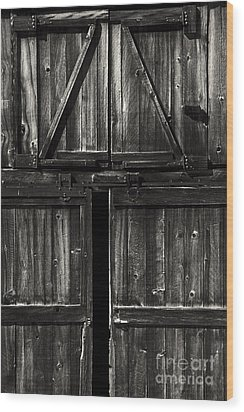 Old Barn Door - Bw Wood Print by Paul W Faust -  Impressions of Light