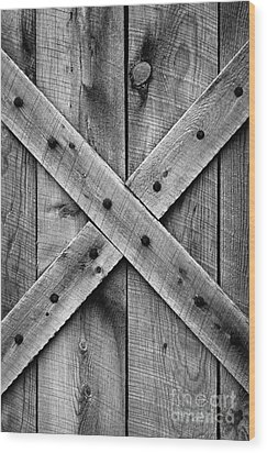 Wood Print featuring the photograph Old Barn Door In Black And White by Lincoln Rogers