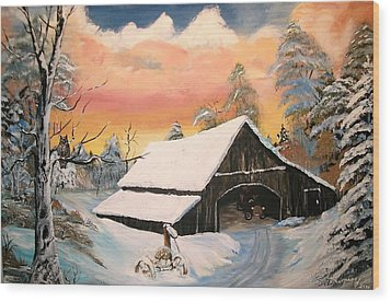 Wood Print featuring the painting Old Barn Guardian by Sharon Duguay