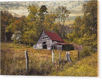 Old Barn In Autumn Wood Print by Debra and Dave Vanderlaan