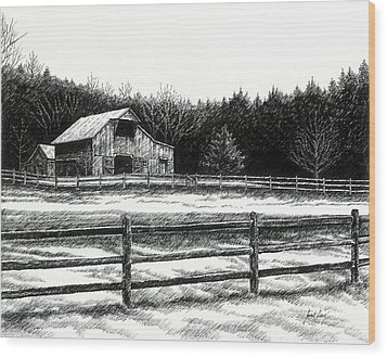 Old Barn In Franklin Tennessee Wood Print by Janet King