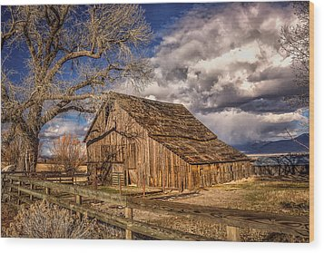 Old Barn In Franktown Wood Print by Janis Knight