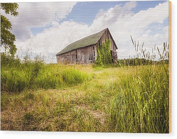 Wood Print featuring the photograph Old Barn In Ontario County - New York State by Gary Heller