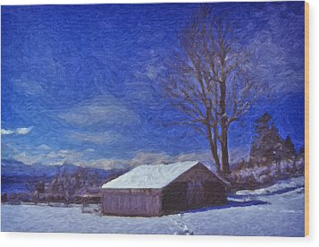 Wood Print featuring the digital art Old Barn In Winter by Richard Farrington
