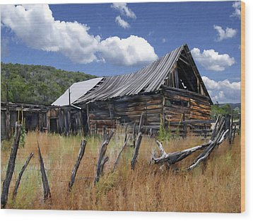 Old Barn Las Trampas New Mexico Wood Print by Kurt Van Wagner