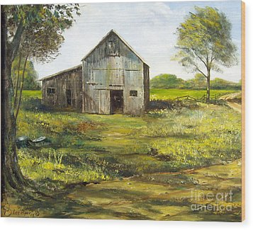 Wood Print featuring the painting Old Barn by Lee Piper
