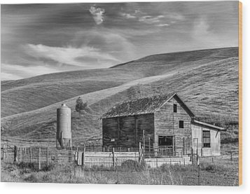 Wood Print featuring the photograph Old Barn Monochrome by Chris McKenna