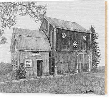 Old Barn Wood Print by Sarah Batalka