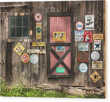 Old Barn Signs - Door And Window - Shadow Play Wood Print by Gary Heller