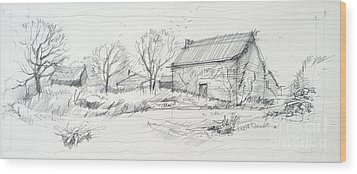 Old Barn Sketch Wood Print by Peut Etre