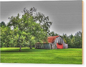 Wood Print featuring the photograph Old Barn With Red Door by Lanita Williams