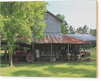 Old Barn With Red Tractor Wood Print