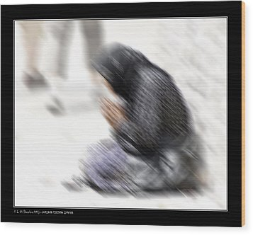 Wood Print featuring the photograph Old Beggar Woman by Pedro L Gili