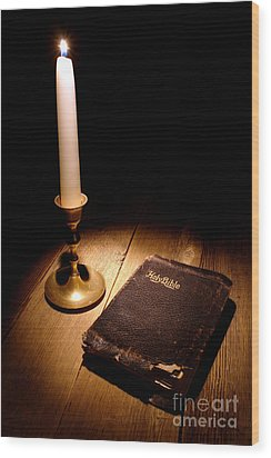 Old Bible And Candle Wood Print by Olivier Le Queinec