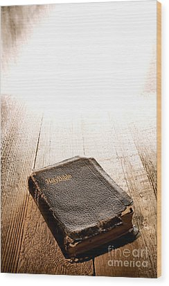 Old Bible In Divine Light Wood Print by Olivier Le Queinec