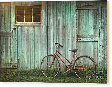 Old Bicycle Leaning Against Grungy Barn Wood Print by Sandra Cunningham