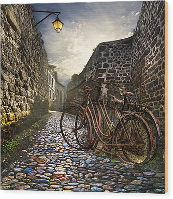 Old Bicycles On A Sunday Morning Wood Print by Debra and Dave Vanderlaan