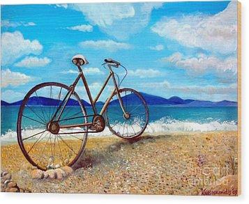 Old Bike At The Beach Wood Print by Kostas Koutsoukanidis