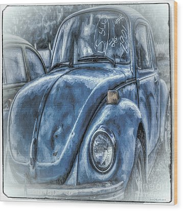 Old Blue Bug Wood Print