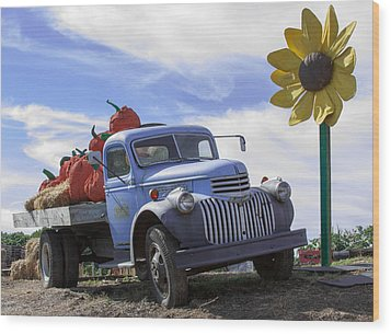 Old Blue Farm Truck  Wood Print by Patrice Zinck