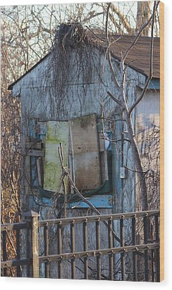 Old Blue Shack Wood Print by Tom Gari Gallery-Three-Photography