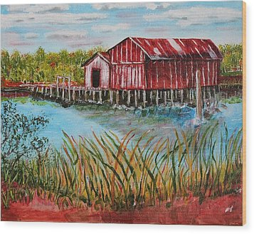 Wood Print featuring the painting Old Boat House On Causeway by Melvin Turner