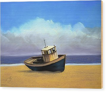 Old Boat - Pastel Wood Print