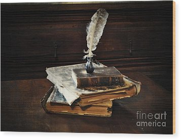 Old Books And A Quill Wood Print by Mary Machare