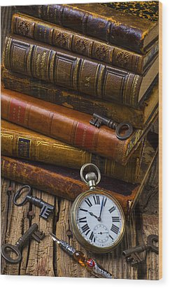 Old Books And Pocketwatch Wood Print by Garry Gay