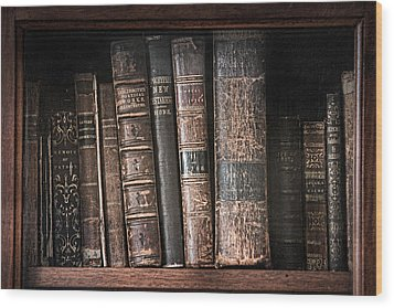 Old Books On The Shelf - 19th Century Library Wood Print