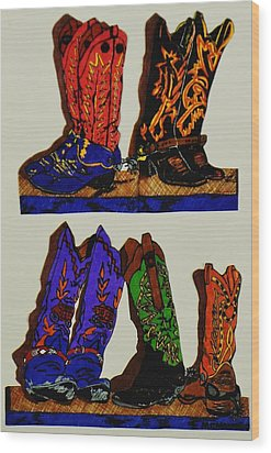 Wood Print featuring the drawing Old Boots by Celeste Manning