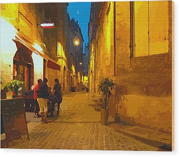 Old Bordeaux By Night Wood Print by Bishopston Fine Art