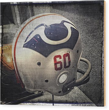Old Boston Patriots Football Helmet Wood Print