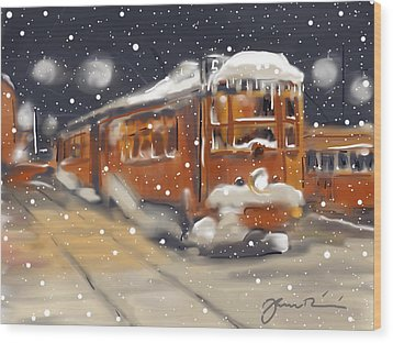 Old Boston Trolley In The Snow Wood Print by Jean Pacheco Ravinski
