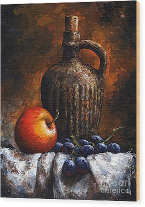 Old Bottle And Fruit Wood Print by Emerico Imre Toth